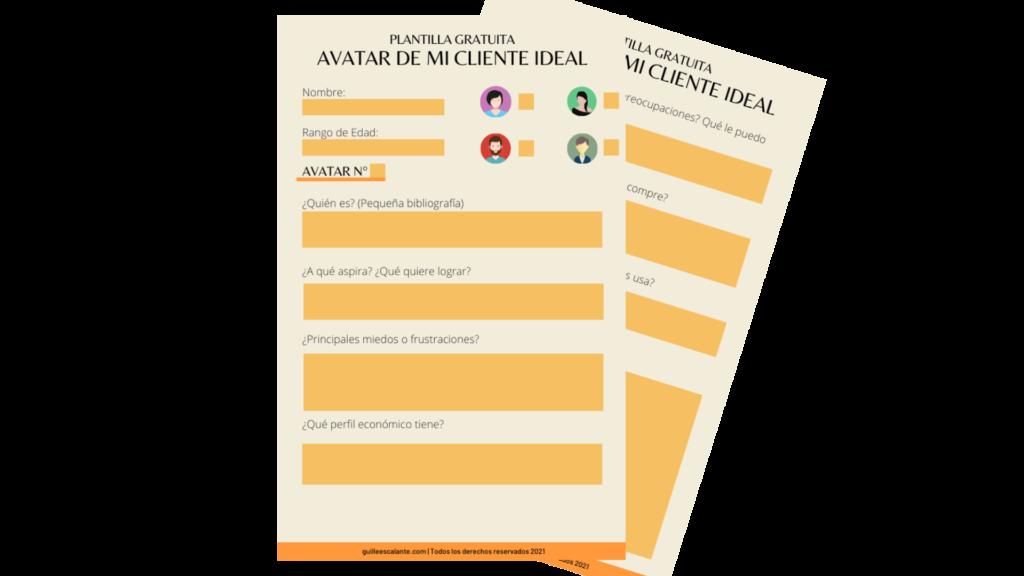 Plantilla editable para crear el avatar de tu cliente ideal
